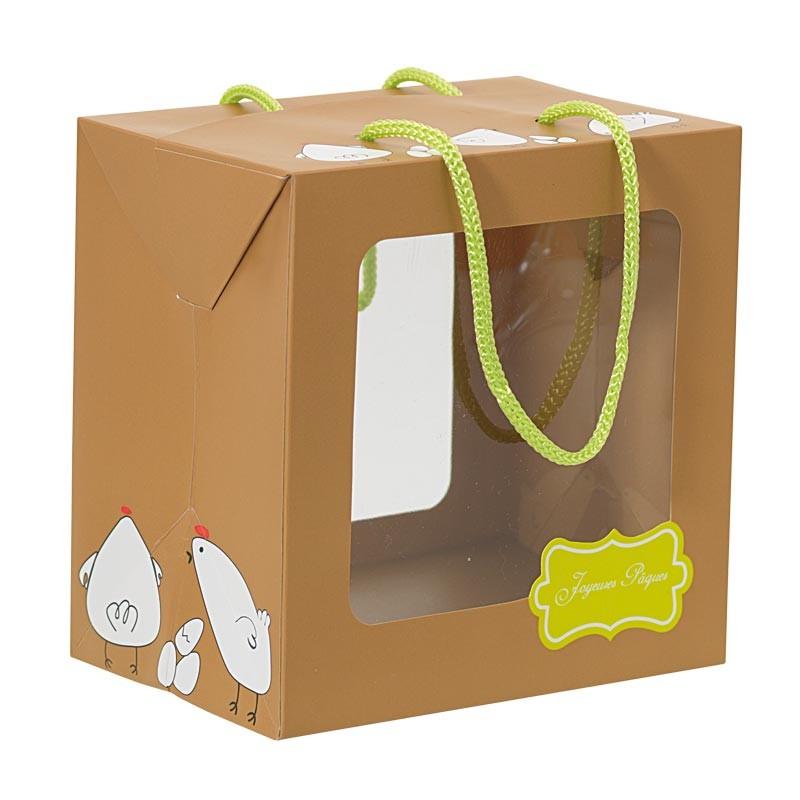 Packaging alimentaire chocolatiers - Sac Boîte Poule Joyeuses Pâques
