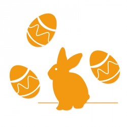 Stickers Pâques repositionnables adaptés aux vitrines - Lapin et œufs