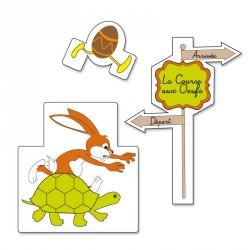 Décoration vitrine Pâques - Sticker repositionnable la Course aux Œufs