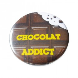 Accesoire humour pour emballage alimentaire - Badge Chocolat Addict
