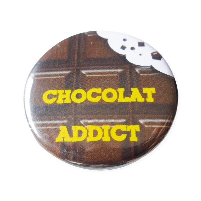 Accesoire humour pour emballage alimentaire - Badge Chocolat Addict