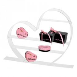 Présentoir Cœur acrylique - Vitrine St-Valentin, fête des Mères, ... Avec collection de packaging Embaline Audace