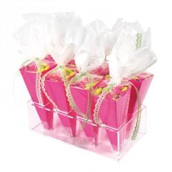 Cartonnette Fuchsia et Cornet - Emballage St Valentin