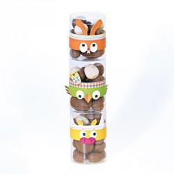 Packaging de Pâques totem indien humoristique - Set de 24 Bagues avec Tubes Transparents