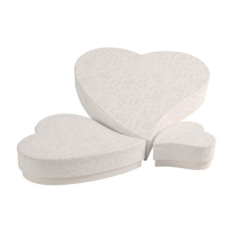 Promotions - Boîte cœur papier création irisé dentelle - Cœur Tsarine
