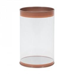 Packaging pour chocolatiers, pâtissiers et confiseurs - Tube transparent Or Rose couvercle métal