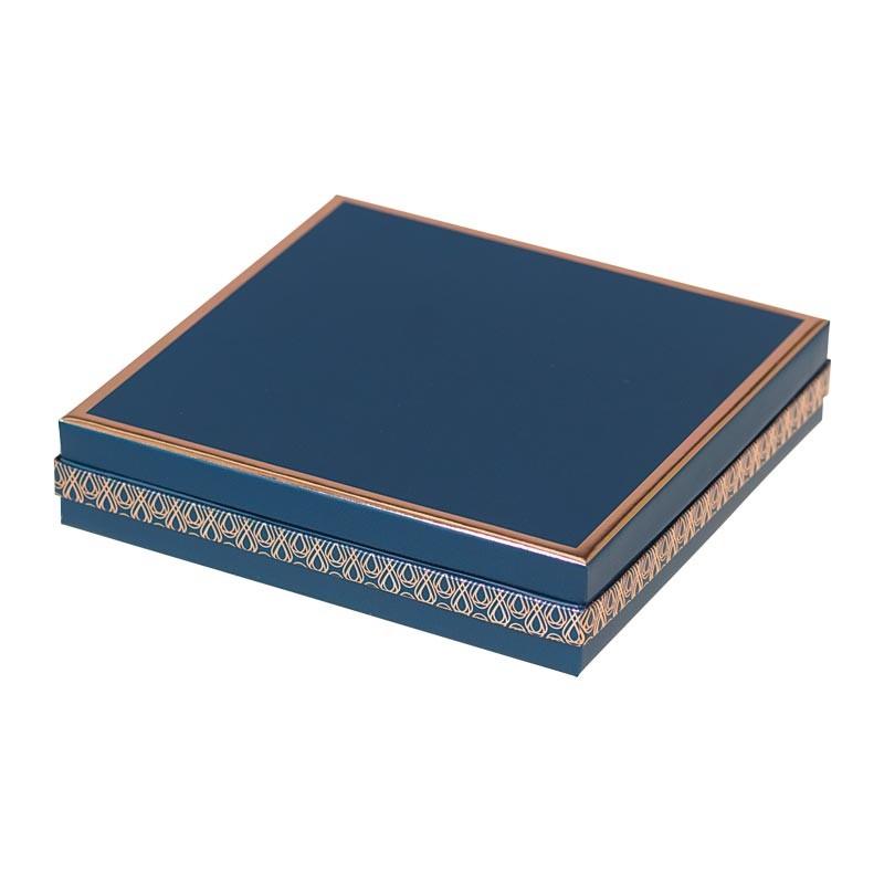 Boîte carrée bleue et or rosé avec intérieur or rosé - Du Bellay Madison