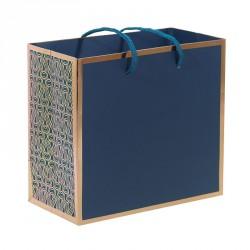 Packaging grand luxe pour chocolatiers, pâtissiers et confiseurs - Sac cabas bleu et or rosé Madison