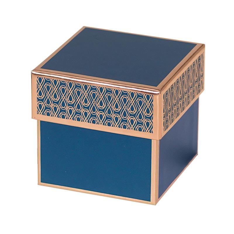 Packaging grand luxe en forme de cube bleu et or rosé pour chocolatiers, pâtissiers, confiseurs - Baudelaire Madison