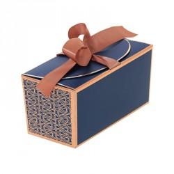 Packaging bleu et or rosé grand luxe pour chocolatiers, pâtissiers et confiseurs - Ballotin Ruban Madison