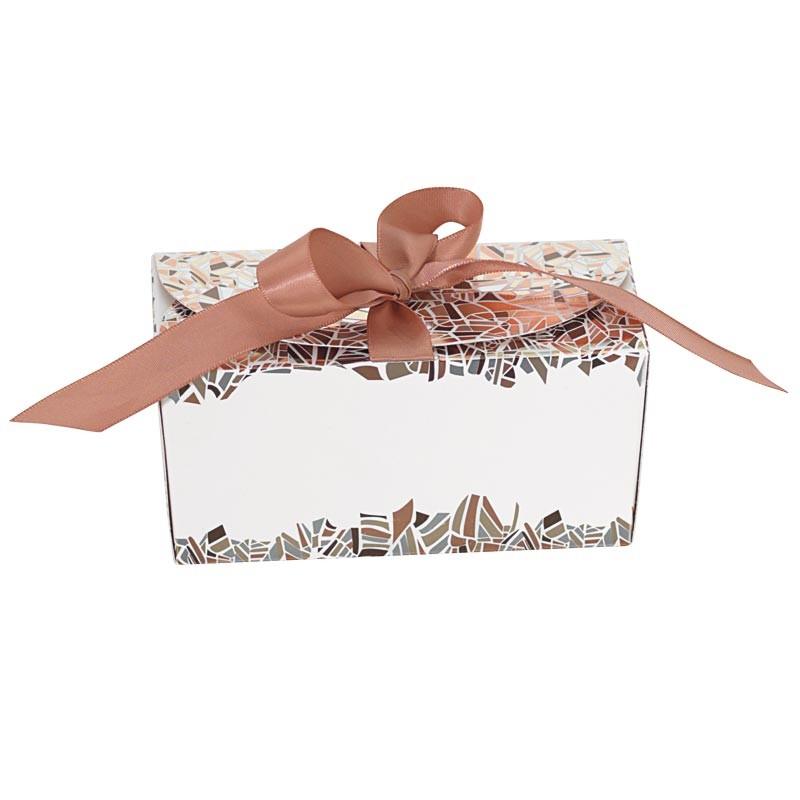 Packaging alimentaire chocolatier - Ballotin Ruban Champagne Rythmique