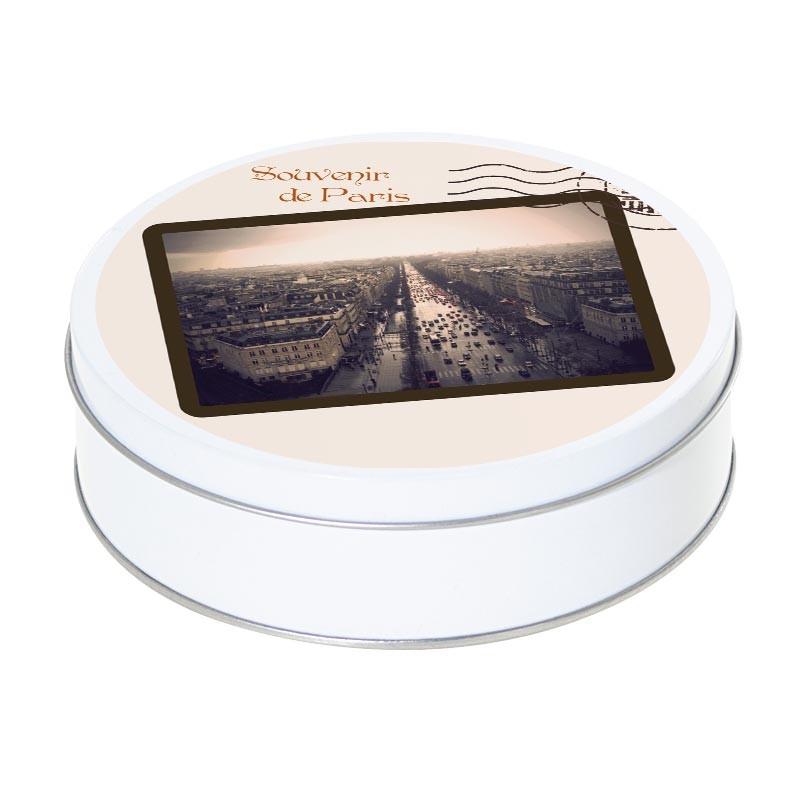 Boîte ronde métallique empilable Caméléon A-10 - Souvenir de Paris