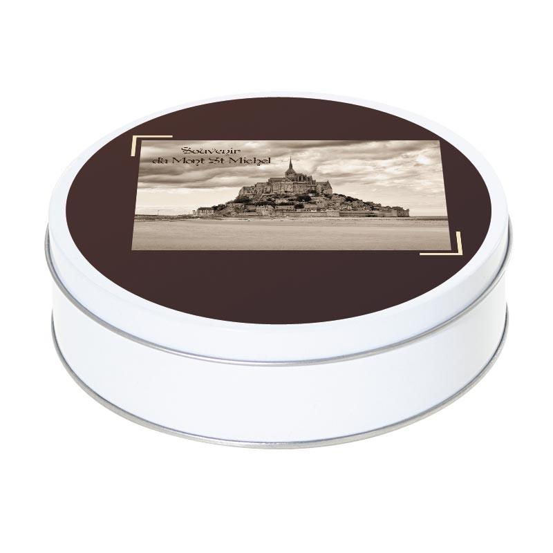 Boîte ronde métallique Caméléon A-11 - Souvenir du Mont Saint-Michel