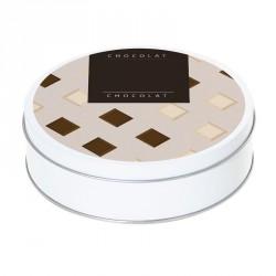 Boîte ronde métallique Caméléon B-05 - Carrés de chocolat blanc & lait