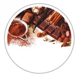 Boîte ronde métallique Caméléon B-13 - Photo chocolat, cacao, vanille