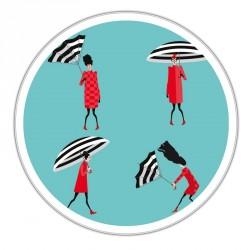 Boîte ronde métallique C-03 - Motif Scènes de parapluie printanières