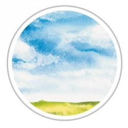 Boîte ronde métallique Caméléon D-01 - Paysage estival en aquarelle