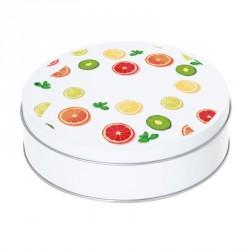 Boîte ronde métallique Caméléon D-05 - Motif Les fruits de l'été