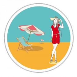 Boîte ronde métallique Caméléon D-09 - Illustration L'été à la plage !