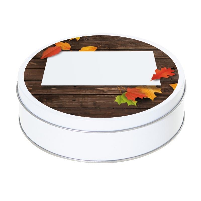 Boîte ronde métallique Caméléon E-01 - Feuilles d'automne sur plancher
