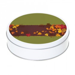 Boîte ronde métallique Caméléon E-08 - Parterre de feuilles en automne