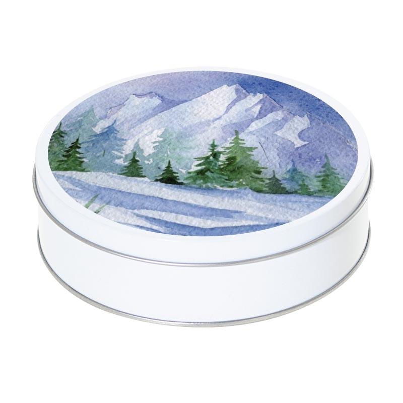 Boîte ronde métallique Caméléon F-03 - Paysage montagneux hivernal