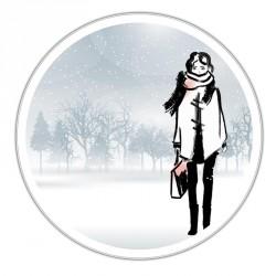 Boîte ronde métallique Caméléon F-06 - Fashionista sous la neige
