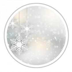 Boîte blanche ronde métallique Caméléon F-07 - Flocons de neige design