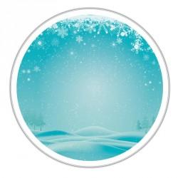 Boîte ronde métallique Caméléon F-09 - Illustration paysage hivernal