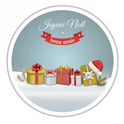 Boîte ronde métallique Caméléon G-06 - Cadeau, Joyeux Noël Bonne Année