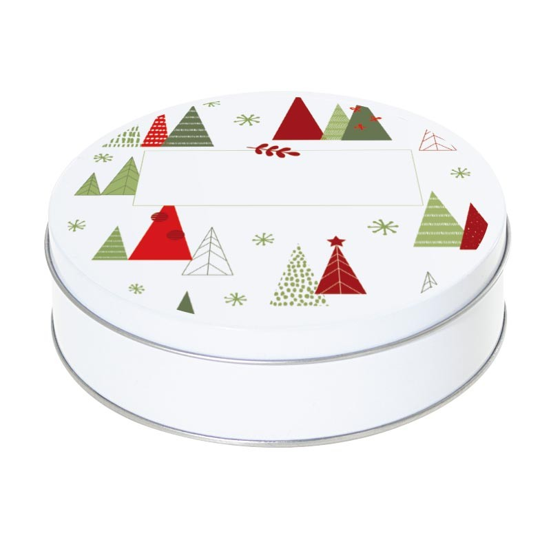Boîte ronde métallique Caméléon G-14 - Motif Sapins de Noël Design
