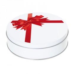 Boîte ronde métallique Caméléon G-16 - Motif nœud de paquet cadeau