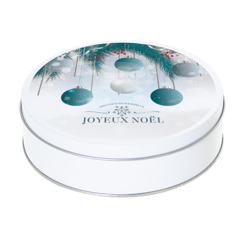 Boîte ronde métallique Caméléon G-19 - Sapin et boules - Joyeux noël
