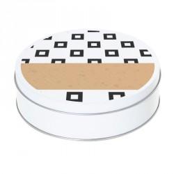 Boîte ronde métallique Caméléon H-01 - Carrés bord noir sur fond blanc