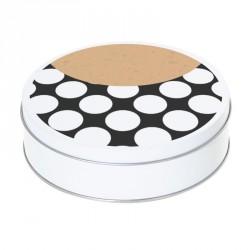 Boîte ronde métallique Caméléon H-02 - Abstraction, ronds blancs sur fond noir