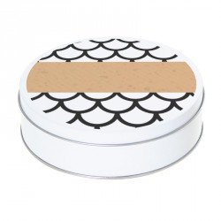 Boîte ronde métallique Caméléon H-03 - Motif écailles de poisson