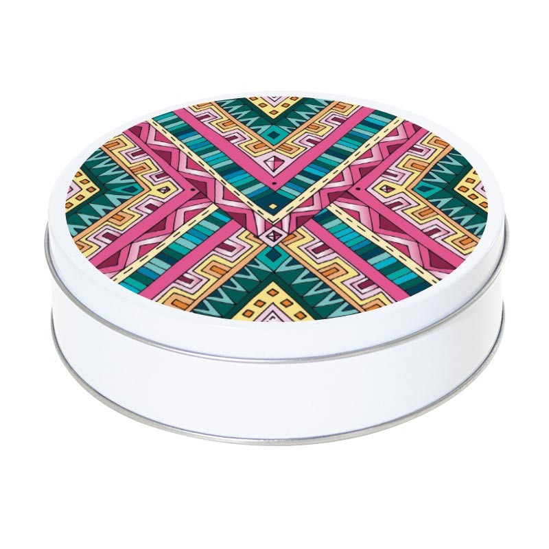 Boîte ronde métallique Caméléon H-04 - Abstraction tribale 3 couleurs