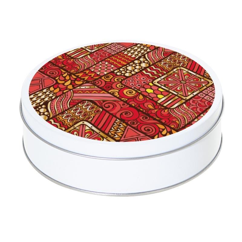 Boîte ronde métallique Caméléon H-05 - Illustration tribale rouge