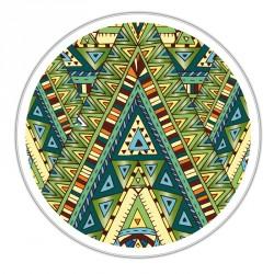 Boîte ronde métallique Caméléon H-06 - Illustration tribale verte