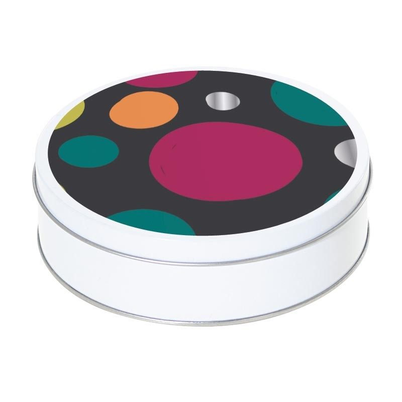 Boîte ronde métallique Caméléon H-07 - Abstraction ovoïdale fond noir