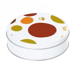 Boîte ronde métallique Caméléon H-09 - Abstraction ovoïdale fond blanc