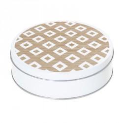 Boîte ronde métallique Caméléon H-10 - Carrés Blancs sur fond boisé