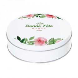 Boîte ronde métallique Caméléon I-02 - Bonne Fête Maman - Motif fleuri