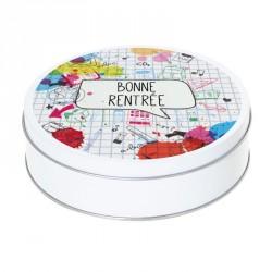 Boîte ronde métallique Caméléon I-04 - Motif Cahier - Bonne rentrée !