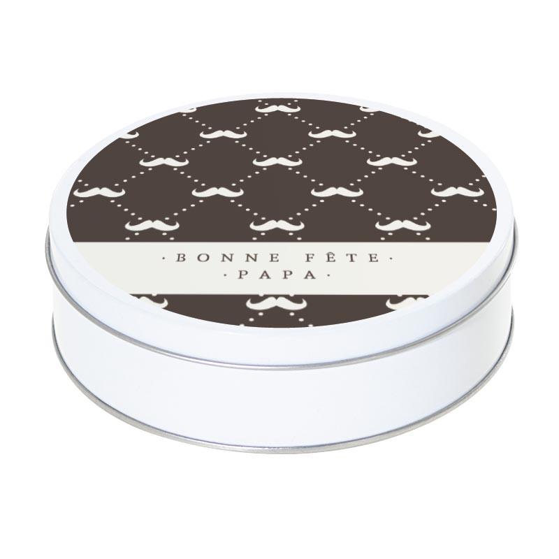 Boîte ronde métallique Caméléon I-07 - Bonne fête papa - Motif Moustache