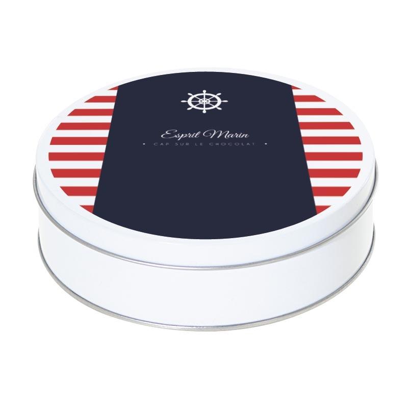 Boîte ronde métallique Caméléon I-08 - Esprit Marin - Cap sur le chocolat