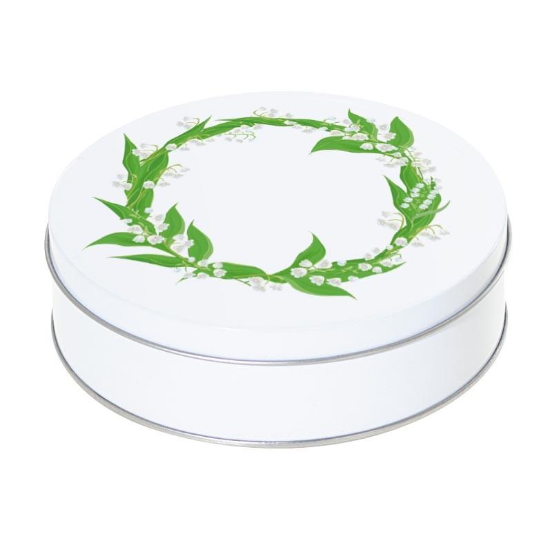 Boîte ronde métallique Caméléon I-10 - Brins de muguet porte bonheur !