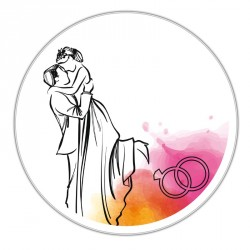 Boîte ronde métallique Caméléon I-27 - Illustration jeunes mariés !