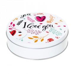 """Boîte ronde métallique Caméléon I-28 - Motif fleuri """"I love you"""" !"""