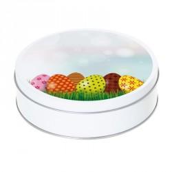 Boîte ronde métallique Caméléon I-38 - Motif œufs de Pâques décorés !